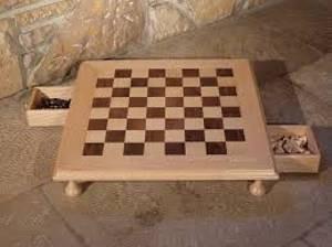 Marqueterie, jeu d'échecs à Clarens